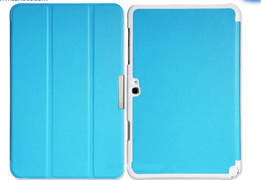 10.1 inch HECC Three Fold Bracket PU Kunstlederen Sleeve voor Samsung ATIV Tab3 XE300TZC 3000TC -Black [SLV-SXE300T-01BK]